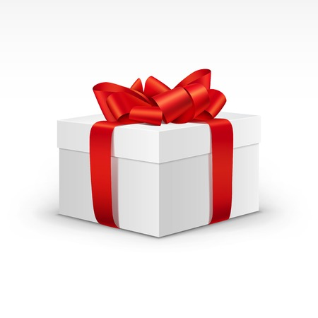 White Gift Box with Bright Red Ribbon Isolated