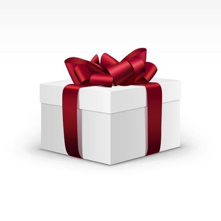 burgundy ribbon: Contenitore di regalo bianco con nastro rosso Burgundy isolato Vettoriali