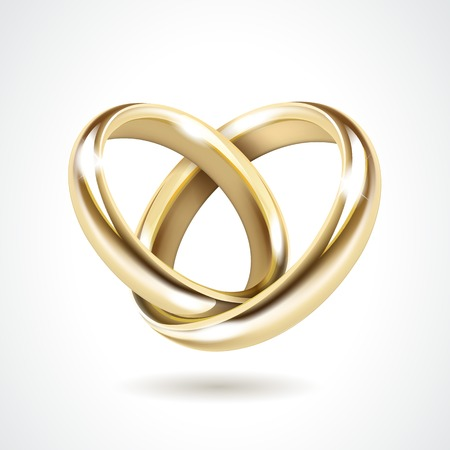 wedding ring: Anillos de bodas de oro aislados Vector