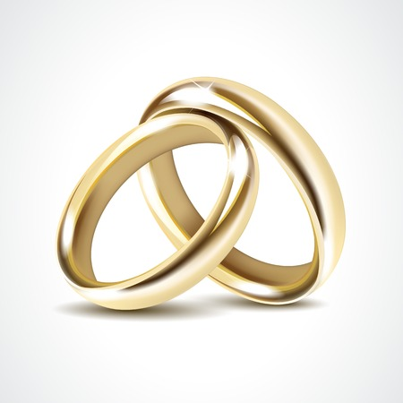 marriage ceremony: Vector Gold Wedding Rings Isolated