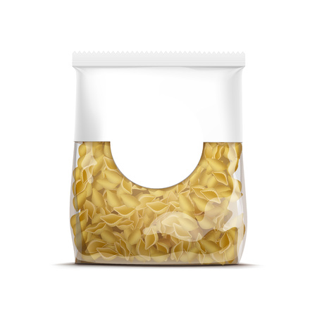 cellophane: Pasta Shells Packaging Template Isolated