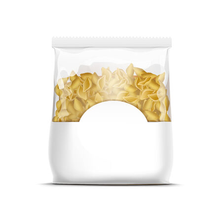 plastic wrap: Pasta Shells Packaging Template Isolated