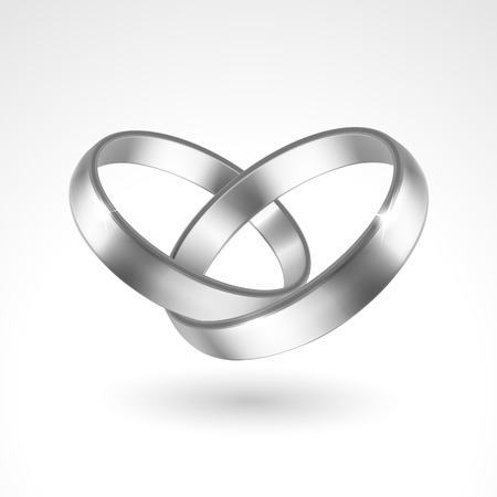 couple together: Vector Silver Rings Illustration