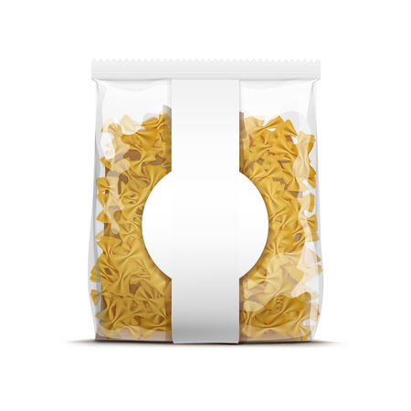 food package: Farfalle Bow Tie Pasta Packaging Template Isolated