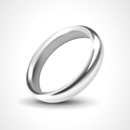bodas de plata: Anillo de plata aislado en el fondo blanco