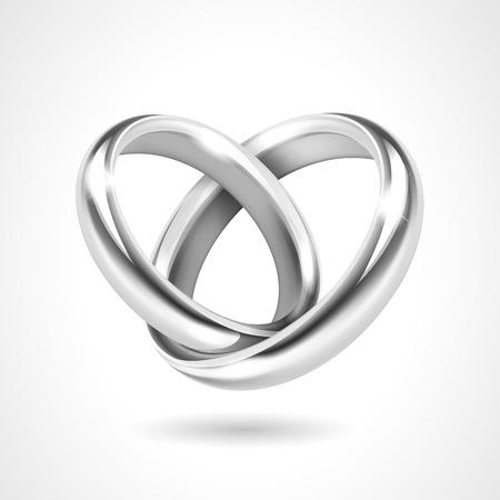 anillo de compromiso: Anillos de plata aislado en el fondo blanco Vectores