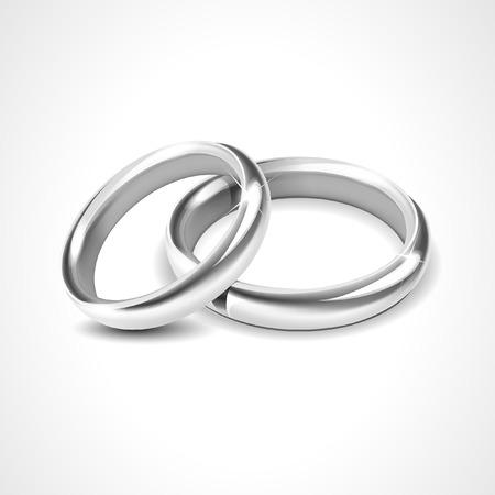 bodas de plata: Anillos de plata aislado en el fondo blanco Vectores