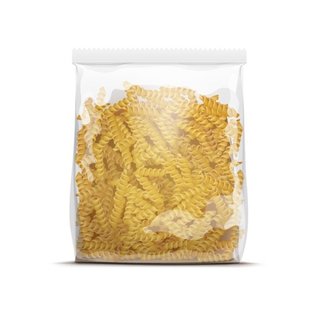 pasta: Fusilli Spiral Pasta Packaging Template Isolated on White  Illustration