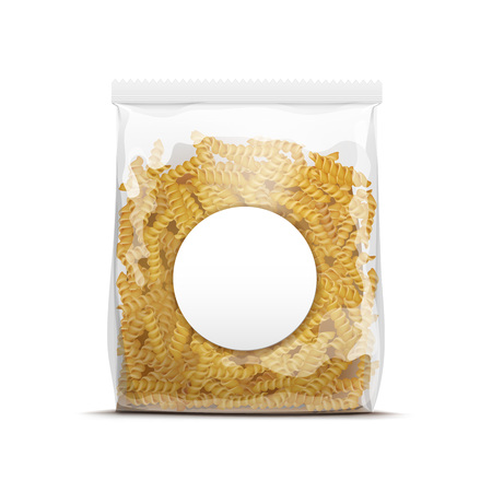 plastic wrap: Fusilli Spiral Pasta Packaging Template Isolated