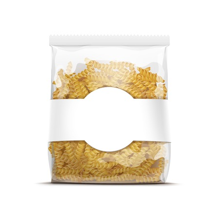 cellophane: Fusilli Spiral Pasta Packaging Template Isolated