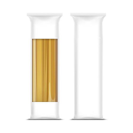 plastic wrap: Spaghetti Pasta Packaging Template Isolated Illustration