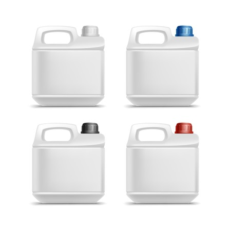 Set of Blank Plastic Jerrycan Canister Gallon Oil Cleanser Detergent Abstergent Isolated