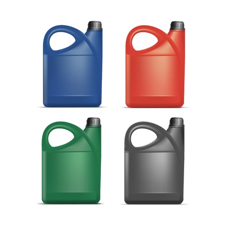 empty tank: Set of Blank Plastic Jerrycan Canister Gallon Oil Cleanser Detergent Abstergent Isolated