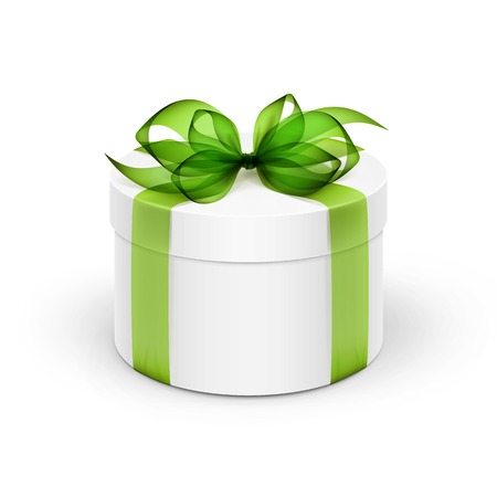 White Round Gift Box with Light Green Ribbon and Bow Isolated on Background