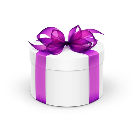 White Round Gift Box with Violet Purple Ribbon and Bow Isolated on Background Vector