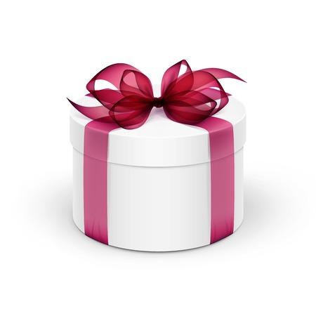 burgundy ribbon: Gift Box rotondo bianco con Burgundy Red Ribbon e fiocco isolato su sfondo Vettoriali