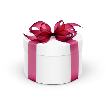 burgundy ribbon: White Round Gift Box with Burgundy Red Ribbon and Bow Isolated on Background