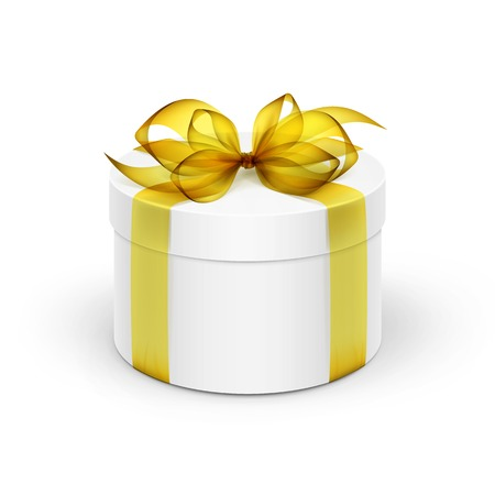 White Round Gift Box with Yellow Ribbon and Bow Isolated on Background Ilustrace