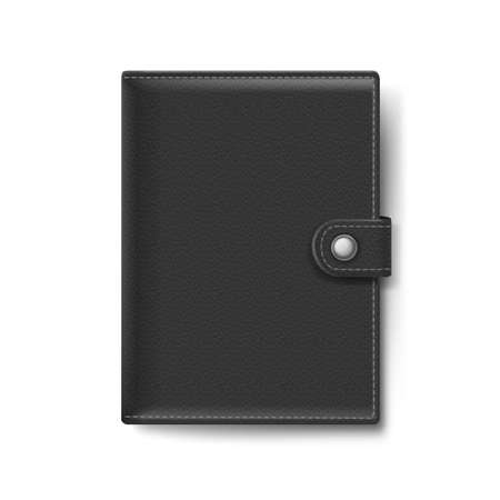 black leather: Black Leather Wallet Isolated on White Background