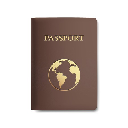 Vector Passport with Map Isolated on White Vector