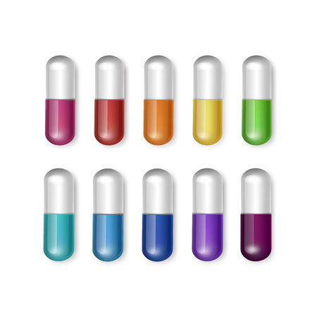 vitamin pill: Vector Set of Multicolored Capsules Isolated Illustration