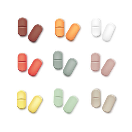 a tablet blister: Vector Set of Multicolored Pills Isolated on White Illustration