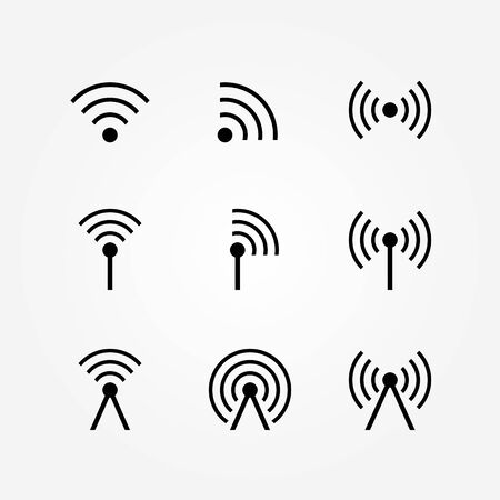radio communication: Vector Set of Wireless and Wifi Icons Illustration