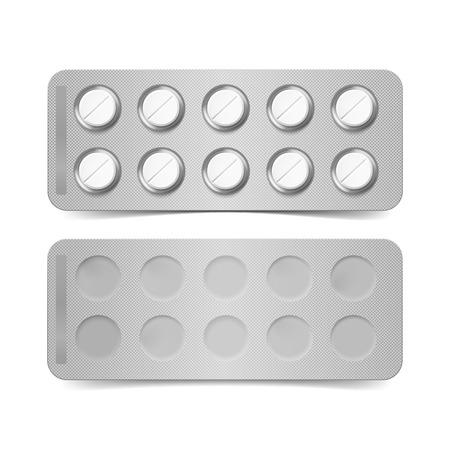blister: Vector Pack of Pills Isolated on White Background