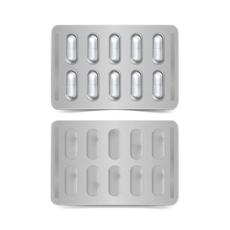 packs of pills: Pack of Capsules Isolated on White Illustration
