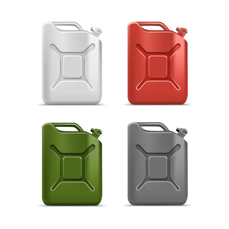 gallon: Set of Blank Jerrycan Canister Gallon Illustration