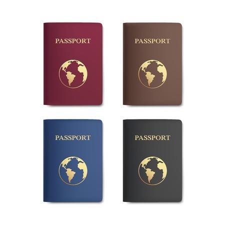 passeport: D�finir des passeports avec Carte isol� sur blanc Illustration