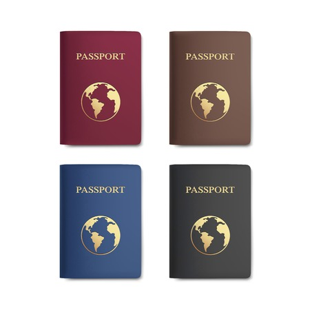 Set of Passports with Map Isolated on White