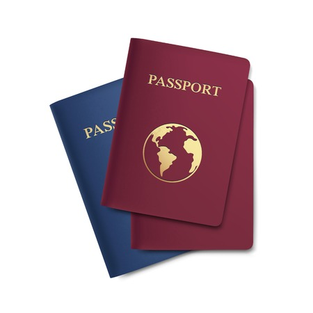 passport: Set of Passports with Map Isolated on White