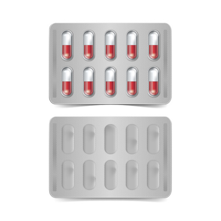 blister: Vector Pack of Red and White Capsules Isolated
