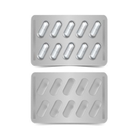 blister: Vector Pack of Capsules Isolated on White Illustration