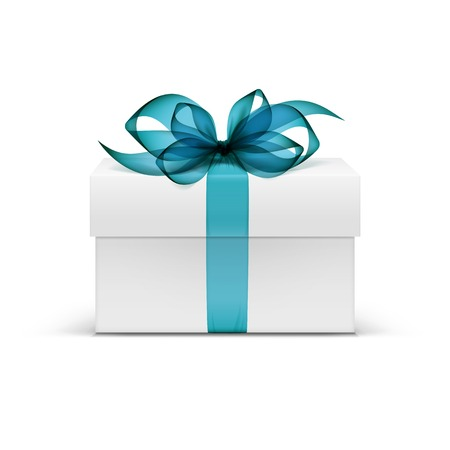 azul turqueza: Plaza Caja de regalo blanco con la cinta azul clara Vectores