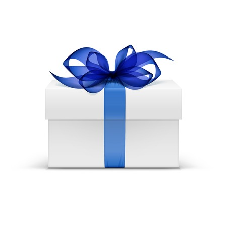 White Square Gift Box with Blue Ribbon and Bow Vettoriali