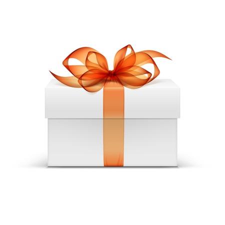 Bílý čtverec dárková krabička s Oranžová stuha a luk