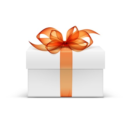 product box: White Square Gift Box with Orange Ribbon and Bow
