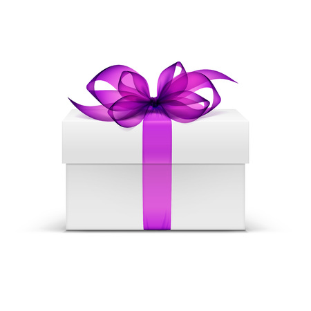 White Square Gift Box with Purple Ribbon and Bow Vettoriali