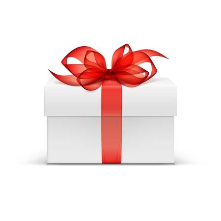 cajas de carton: Plaza Caja de regalo blanco con cinta roja y arco