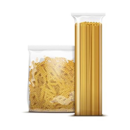 Espaguetis y fusilli Pastas espirales Packaging Ilustración de vector