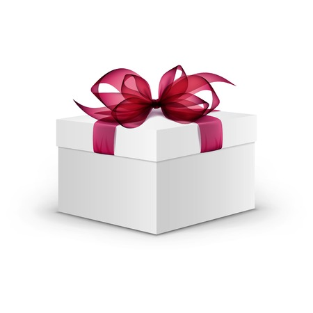 burgundy ribbon: White Square Gift Box with Red Ribbon and Bow