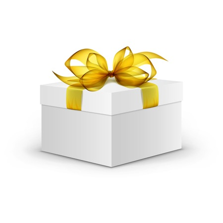 White Square Gift Box with Yellow Ribbon and Bow Vettoriali