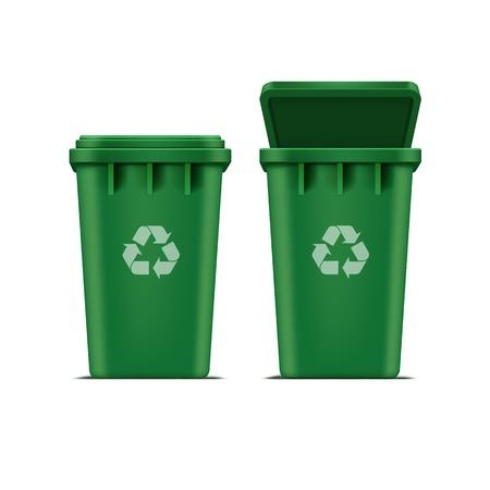 basura: Papelera de reciclaje verde del vector de basura y la basura