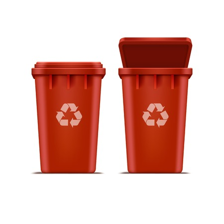 recycle bin: Papelera de reciclaje rojo del vector para basura y la basura Vectores
