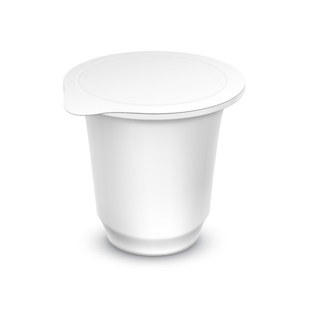 milk pail: Vector Blank White Packaging Container for Yogurt