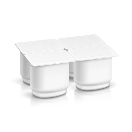 milk pail: Set of Blank White Packaging Container for Yogurt Illustration