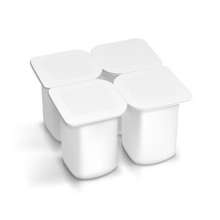 ヨーグルトの空白の白包装容器のセット