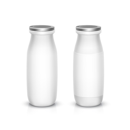 Set of Blank White Bottles for Milk or Yogurt